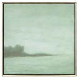 Mist on the Horizon Coastal Beach Aged Silver Frame Giclee Painting | Kathy Kuo Home