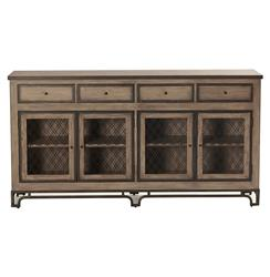 Mitchell Antique Oak Double Lattice Display Cabinet Sideboard