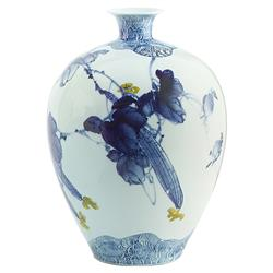 Miyah Global Bazaar Blue Bird Porcelain Vase | Kathy Kuo Home