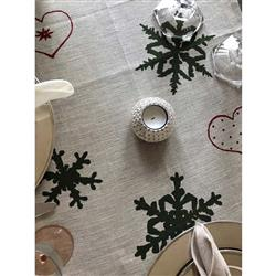 "Mode Living Modern Classic Noelle Tablecloth with Green Snowflakes - 70"" x 90"" 