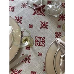 "Mode Living Modern Classic St. Moritz Tablecloth with Red Snowflakes - 70"" x 90"" 