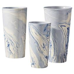 Modern Classic Blue Ivory Marbled Ceramic Vases - Set of 3 | Kathy Kuo Home