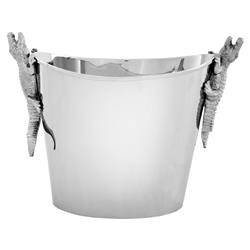Modern Classic Silver Alligator Champagne Bucket | Kathy Kuo Home