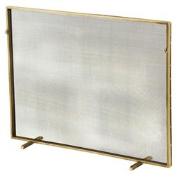 Modern Classic Simple Iron Fireplace Screen - Gold | Kathy Kuo Home