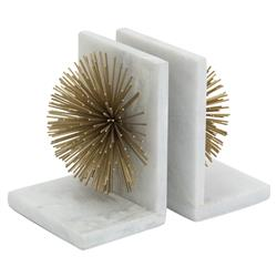 Modern Gold Burst White Marble Bookends | Kathy Kuo Home