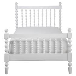 Molly Vintage Modern White Wood Spindle Bed - Twin | Kathy Kuo Home