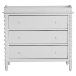 Molly Vintage Modern White Wood Spindle Change Table Dresser | Kathy Kuo Home