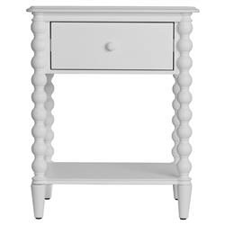 Molly Vintage Modern White Wood Spindle Nightstand | Kathy Kuo Home