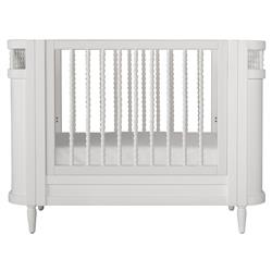 Molly Vintage Modern White Wooden Spindle Crib | Kathy Kuo Home