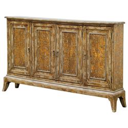 Monique French Country 4 Door Distressed Mahogany Wood Cabinet | Kathy Kuo Home