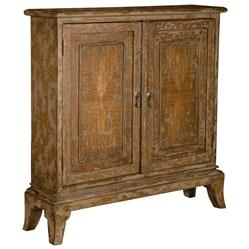 Monique French Country 2 Door Distressed Mahogany Wood Cabinet | Kathy Kuo Home