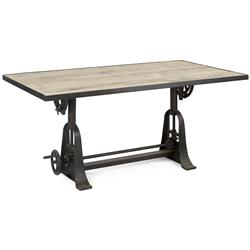 Monterrey Industrial Loft Iron Reclaimed Wood Adjustable Dining Table - 71 Inch | Kathy Kuo Home
