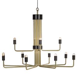 Montmartre Industrial Loft 12 Light Brass Chandelier | Kathy Kuo Home