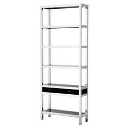Montreal Modern Classic Stainless Steel Smoked Glass Single Drawer Display Bookcase | Kathy Kuo Home