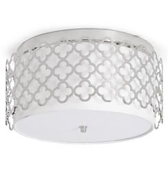 Moreau Hollywood Regency Glass Silver Pattern Ceiling Mount Fixture | Kathy Kuo Home