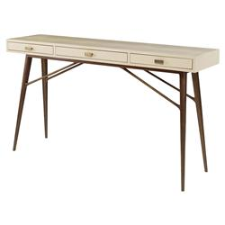 Morlett Regency Faux Ivory Croc Gold Pin Console Desk | Kathy Kuo Home