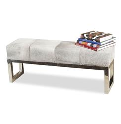 Moro Hollywood Regency Grey Hide Steel Bench | Kathy Kuo Home