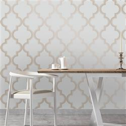 Moroccan Trellis Global Bazaar Grey Beige Removable Wallpaper | Kathy Kuo Home