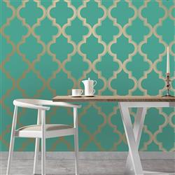 Moroccan Trellis Global Bazaar Jade Gold Removable Wallpaper | Kathy Kuo Home