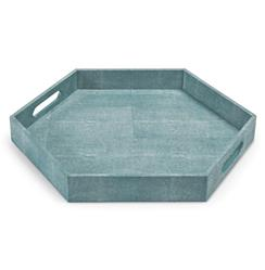 Morro Coastal Beach Turquoise Faux Shagreen Hexagon Tray | Kathy Kuo Home