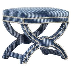Moselle Coastal Dotted Indigo Blue Nickel Nailhead Stool | Kathy Kuo Home
