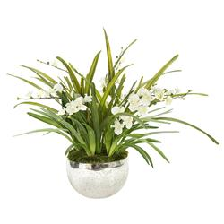 Mossy Wild White Orchid Mirrored Bowl Faux Floral | Kathy Kuo Home