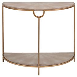Moxie Regency Demilune Ivory Shagreen Brass Console Table | Kathy Kuo Home