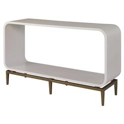 Mr. Brown Wilhelm Mid Century Ivory Smooth Brass Rounded Console Table | Kathy Kuo Home