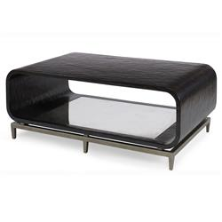 Mr. Brown Wilhelm Modern Ebony Smooth Mirror Rounded Coffee Table | Kathy Kuo Home