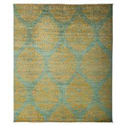 Munro Bazaar Gold Medallion Teal Wool Rug - 8'3 x 9'10 | Kathy Kuo Home
