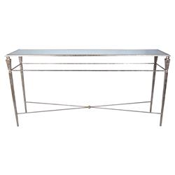 Myra Modern Classic Silver Hammered Metal Console Table | Kathy Kuo Home
