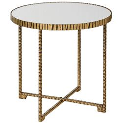 Nairobi Hollywood Regency Mirrored Black Gold Side Table | Kathy Kuo Home