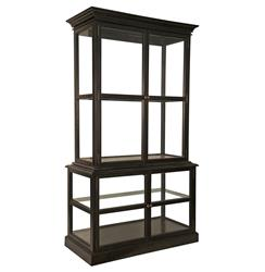 Nala Global Bazaar Black Mahogany Glass Display Cabinet | Kathy Kuo Home