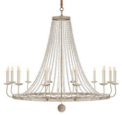 Naples French Country Classic Beaded Grey 12 Light Chandelier | Kathy Kuo Home