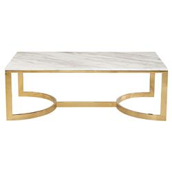 Nata Hollywood White Marble Brass Horse Shoe Coffee Table | Kathy Kuo Home