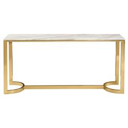 Nata Hollywood White Marble Brass Horse Shoe Console Table | Kathy Kuo Home