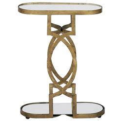 Natasha Art Deco Antique Brass Geometric Side End Table | Kathy Kuo Home