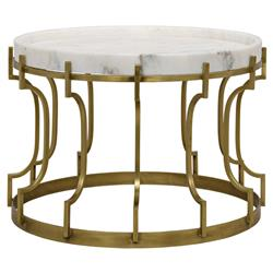 Nathaniel Hollywood Regency White Quartz Antique Brass Round Side End Table | Kathy Kuo Home