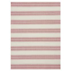 Nautical Red Stripe Woven Ivory Rug - 7'9x9'9 | Kathy Kuo Home