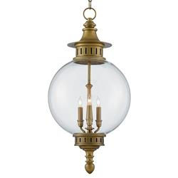 Nautilus Coastal Antique Brass Glass Orb Lantern | Kathy Kuo Home