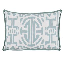 Nava Global Mineral Green Abstract Outdoor Pillow -13x19 | Kathy Kuo Home