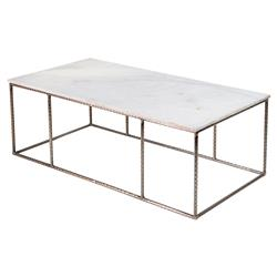 Neha Bazaar Hammered Iron White Marble Coffee Table | Kathy Kuo Home