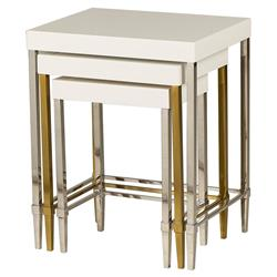 Nessa Modern Mixed Metal Ivory Lacquer Nesting Tables - 3 | Kathy Kuo Home