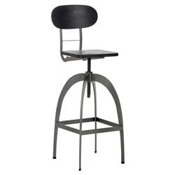 Nevie Industrial Loft Grey Black Steel Bamboo Wood Adjustable Bar Stool | Kathy Kuo Home