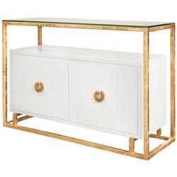 Nicholas Hollywood Regency White Gold Leaf Media Cabinet Buffet | Kathy Kuo Home