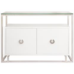 Nicholas Hollywood Regency White Nickel Media Cabinet Buffet | Kathy Kuo Home
