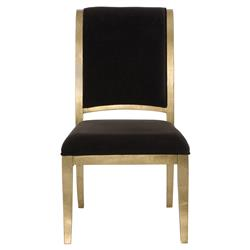 Nicola Global Bazaar Chocolate Brown Gold Leaf Side Chair | Kathy Kuo Home