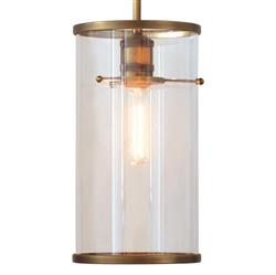 Nicolas Industrial Loft Aged Gold Glass Cylinder Pendant | Kathy Kuo Home