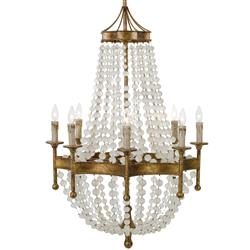 Nicole French Country Antique Gold Crystal 8 Light Chandelier | Kathy Kuo Home