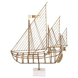Nina Gold Metal Marble Ship Sculpture | Kathy Kuo Home